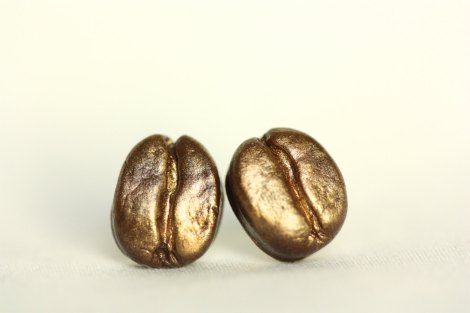 Golden Coffee Bean Earrings from espiskeyartful